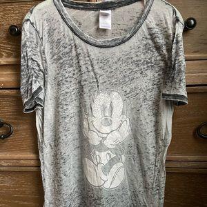 DISNEY Top, Mickey Mouse, Gray, Burnout Thin, Sz L
